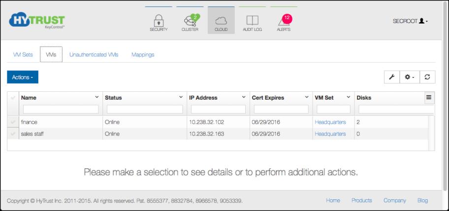 Cloud VM Set Encryption Objects