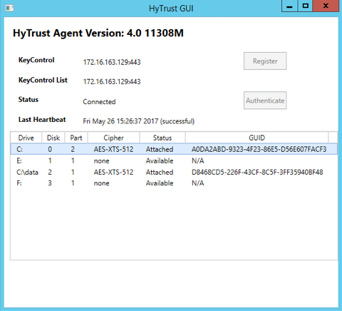 Windows Encryption Management with the HyTrust GUI